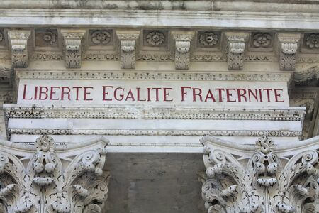 Liberty, equality, fraternity, the national motto of France, inscription in the townhall of Avignon, France