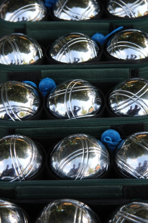 Steel jeu de boule balls at a market in the Provence, France