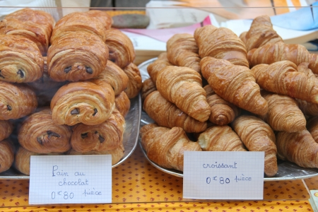traditional chocolate breads, pain au chocolat and plain croissants