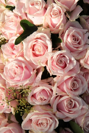 Pale pink roses with dew drops in a wedding centerpiece