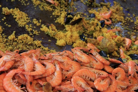 paella: saffron rice, chicken, meat and seafood