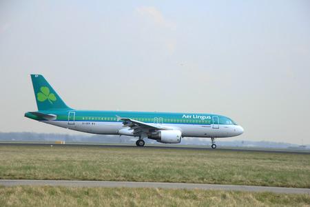March, 24th 2015, Amsterdam Schiphol Airport  EI-DEP Aer Lingus Airbus A320-200   landing on Polderbaan Runway
