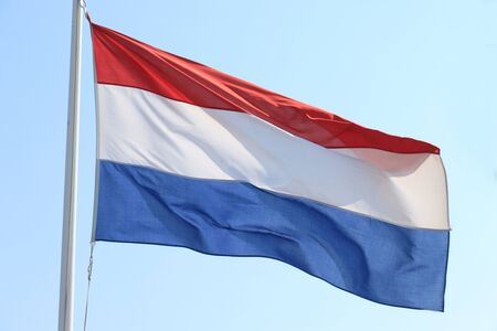 Photo pour Flag of the Netherlands in red, white and blue - image libre de droit