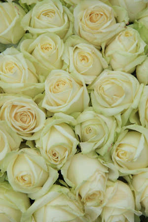 Photo for Classic white wedding arrangement with big white roses - Royalty Free Image