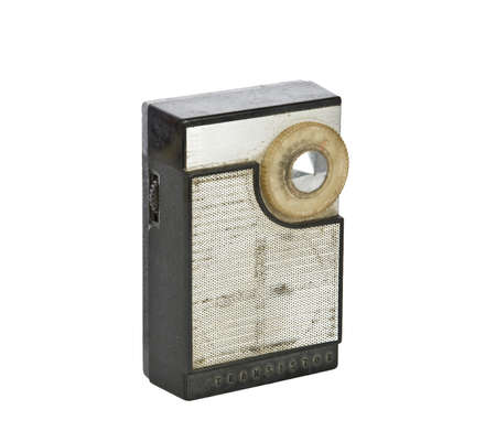 Vintage transistor radio isolated on white