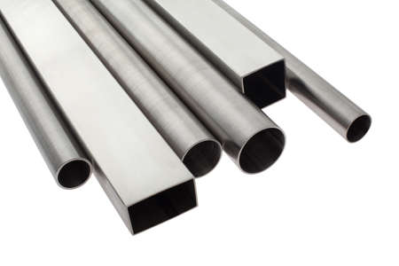 six brushed stainless steel pipes, isolated over white