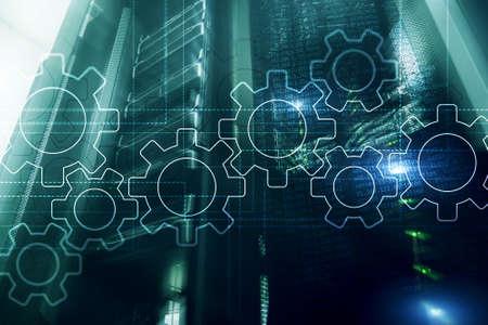 Photo pour Gears mechanism, digital transformation, data integration and digital technology concept. - image libre de droit