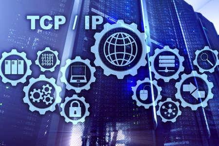 Photo pour Tcp ip networking. Transmission Control Protocol. Internet Technology concept - image libre de droit