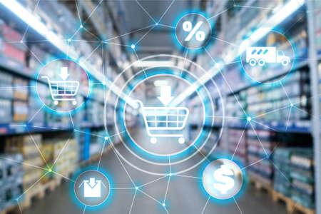 Photo pour Shopping cart Ecommerce Marketing channel distribution concept on supermarket background. - image libre de droit