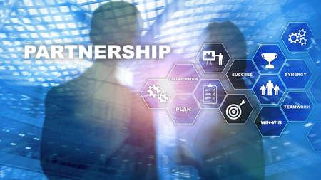Photo pour Business partnership concept. Successful deal after great meeting. Multiple exposure, mixed media. - image libre de droit