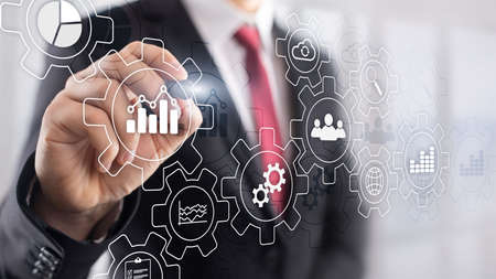 Photo pour Business process abstract diagram with gears and icons. Workflow and automation technology concept - image libre de droit