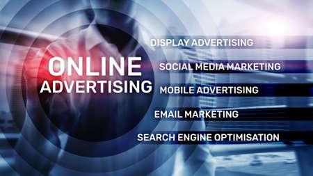 Photo pour Online advertising, Digital marketing. Business and finance concept on virtual screen. - image libre de droit