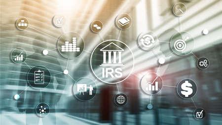 Photo pour Internal Revenue Service. IRS Ministry of Finance. Abstract Business background. - image libre de droit