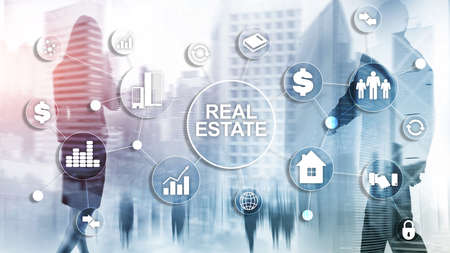 Photo pour Real estate. Property insurance and security concept. Abstract business background - image libre de droit