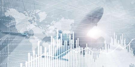 Photo pour Business Finance Chart Graph. Trading Forex Exchange Investment Fintech concept. Mixed media - image libre de droit