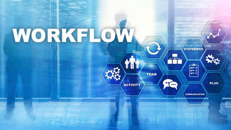 Foto de Automation of business workflows. Work process. Reliability and repeatability in technology and financial processes. - Imagen libre de derechos