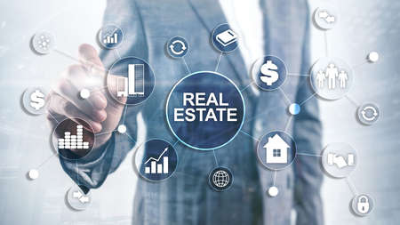 Photo pour Real estate. Property insurance and security concept. Abstract business background. - image libre de droit