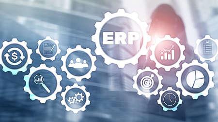 Photo pour ERP system, Enterprise resource planning on blurred background. Business automation and innovation concept - image libre de droit