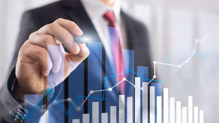 Photo pour Financial growth graph. Sales increase, marketing strategy concept - image libre de droit