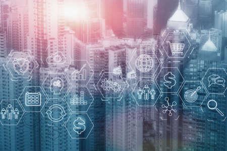 Foto de ERP Enterprise Resource Planning . Business intelligence control panel marketing on modern city of the future background - Imagen libre de derechos