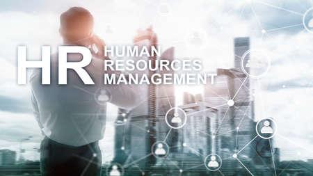 Photo pour Human resource management, HR, Team Building and recruitment concept on blurred background. - image libre de droit