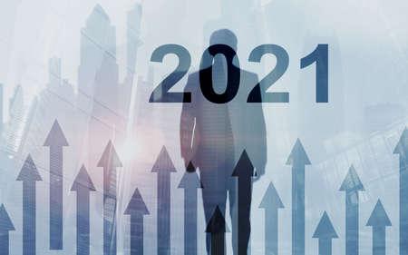 Foto de 2021 Growth up arrows on futuristic abstract background. Investing o business concept. - Imagen libre de derechos