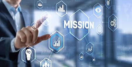 Photo pour Mission concept. Finacial success chart concept on virtual screen. Business background. - image libre de droit