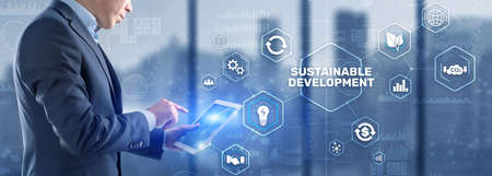 Photo pour Sustainable development, ecology and environment protection concept. Renewable energy and natural resources. - image libre de droit
