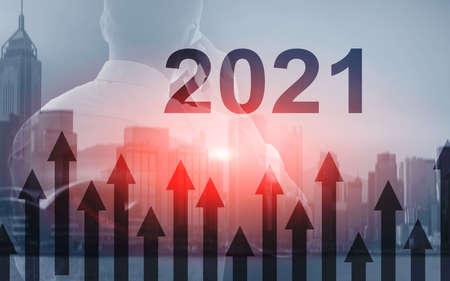 Foto de 2021 Growth up arrows on futuristic abstract background. Investing o business concept - Imagen libre de derechos
