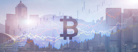 Photo pour Bitcoin. Crypto currency market on modern city background - image libre de droit