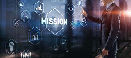 Photo pour Businessman clicks on virtual screen Mission - image libre de droit