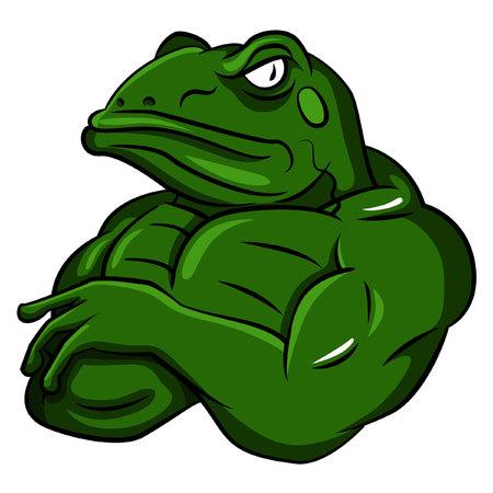 Illustration pour Frog Strong Mascot - image libre de droit