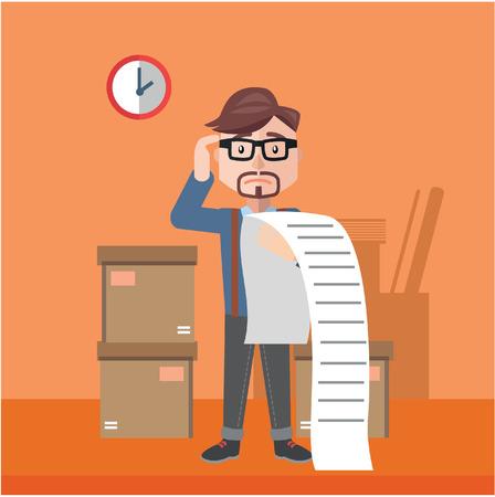 Illustration pour businessman confused bill flat color cartoon illustration - image libre de droit