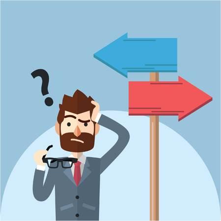 Illustration pour Business man confusing choosing path - image libre de droit