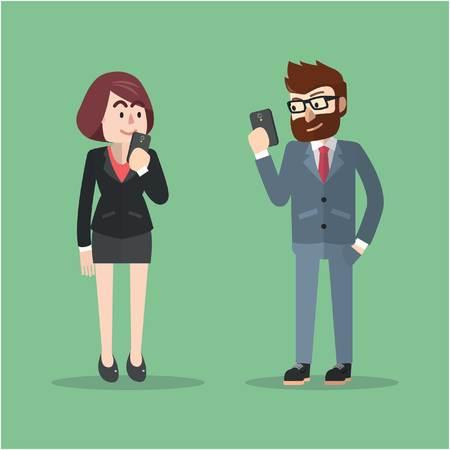 Illustration pour Business man and woman chatting - image libre de droit