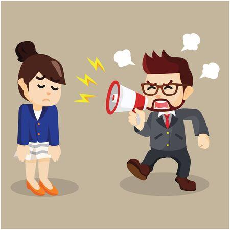 Illustration pour angry at employee  illustration design - image libre de droit