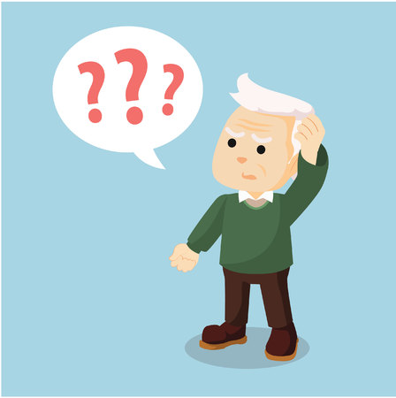 Illustration for old man confused holding head - Royalty Free Image