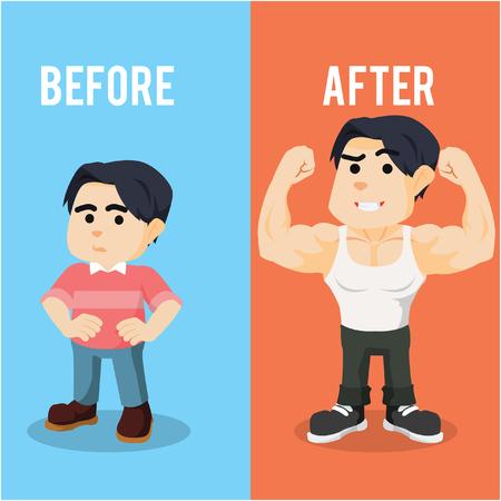 boy before after illustration design