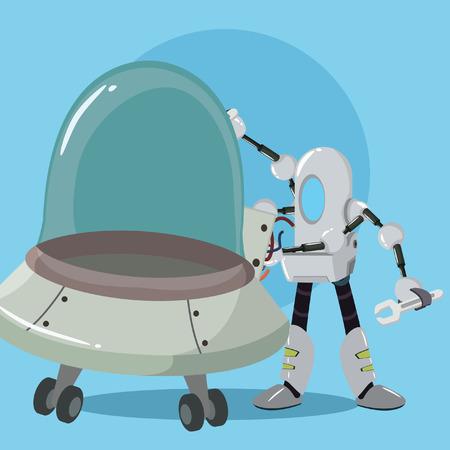 mechanic robot repairing ufo