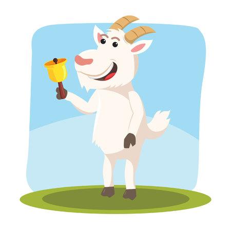 goat holding bell vector illustration design