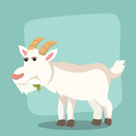 goat eating leaf vector illustration design