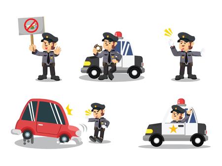 Illustration pour monkey police cartoon set - image libre de droit