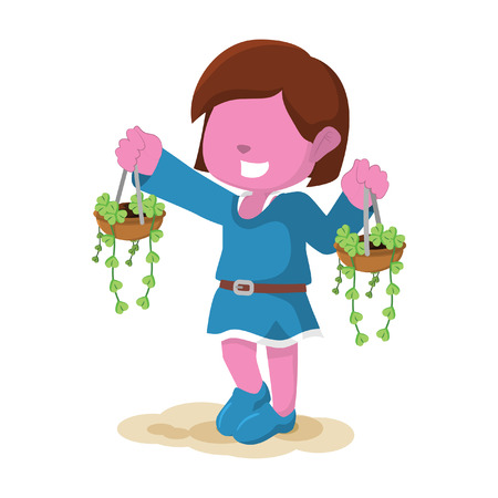 pink girl carrying plantのイラスト素材