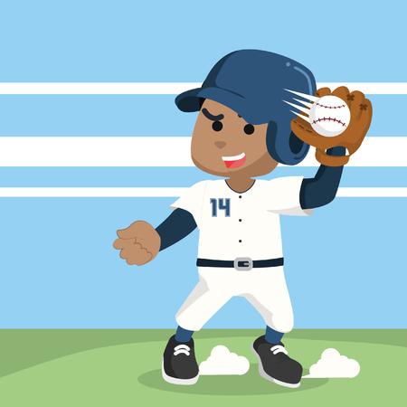 African baseball player catching ball– stock illustration