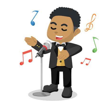 Illustration for African child singer cartoon illustration stock illustration. - Royalty Free Image