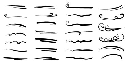 Illustration pour Hand-drawn collection of doodle style various shapes, underlines. Art Lines. Isolated on white. Vector illustration - image libre de droit