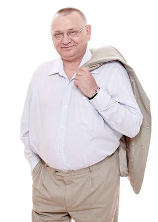 Photo pour Cheerful middle aged man wearing glasses, shirt with open collar and beige suit standing with jacket over his shoulder and smiling isolated on white background - happy retirement concept - image libre de droit