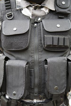 black S.W.A.T vest - part of soldier's equipment