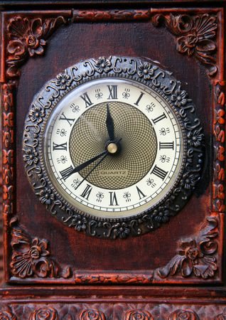 dial of old wooden clock