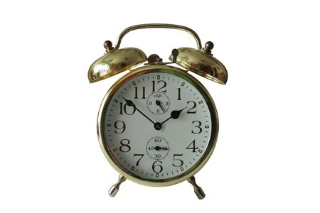 old alarm clock on the white background with clipping paths